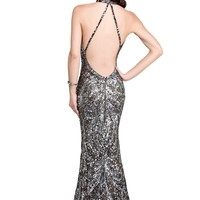 Primavera 9711 Gunmetal Evening Dress