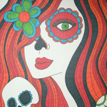 Red and Orange Sugar Skull Girl 8x10 Marker and Sharpie Drawing, Original Day of the Dead Art, Dia De Los Muertos,Alternative Art,Gift Idea