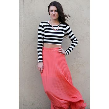 Cropped White Black Stripe Top