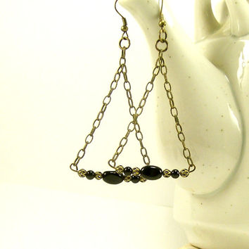 Long Black Dangle Earrings, Boho Earrings, Bead and Chain Earrings, Brass Earrings, Handmade Jewelry, Beaded Jewelry, Fashion Jewelry