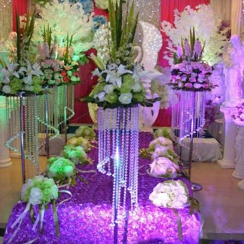 10pcs/lot 70cm Wedding Flower Stand Acrylic Crystal Wedding Road Lead Table Centerpiece Event Decoration