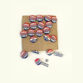 1960s Presidential Campaign Pinbacks, Lot of 21 Kennedy & Johnson Political Buttons, USA Historical Lapel Pin, Red White and Blue, Americana