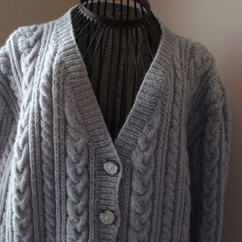 Ready to ship /GORGEOUS Hand Knitted-HANDMADE Grey guernsey aran fisherman Cardigan for women or men/UNISEX