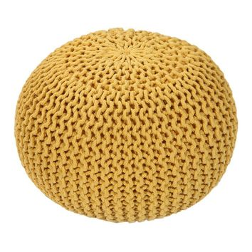 Handmade Round Knitted Pouf | Vibrant Yellow | 50x35cm