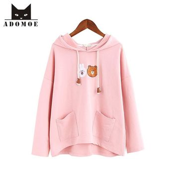 Kawaii Hoodie Bear Bunny Cartoon Women Pullover Cotton Terry Mori girls Hoodies Hooded Cute Teens Cute Sweet White Pink Tops