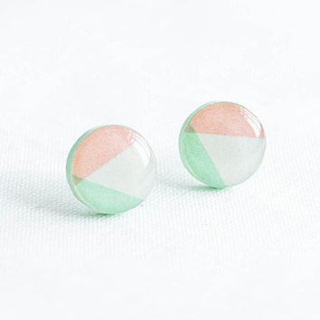 Pastel stud earrings geometric post earrings round studs by Lepun