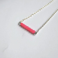 Fluorescent pink bar necklace - Pink czech glass beads and silver plated chain - Handmade bar necklace - Small statement necklace - Minimal