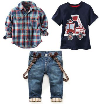 3 Piece Set Plaid Shirt + Car T-shirt + Jeans Outfit