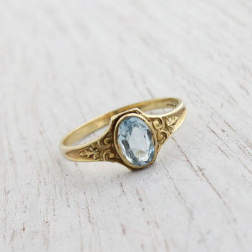 Antique Art Deco 10k Yellow Gold Aquamarine Ring - Vintage Size 3 1/2 1920s  Blue Stone Fine Jewelry / Repousse Filigree