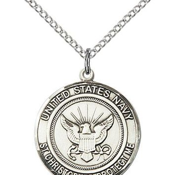 925 Sterling Silver Navy St Christopher Military Soldier Catholic Medal Necklace 617759761870