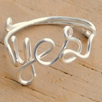 Adjustable Wire Wrapped Word Ring YES