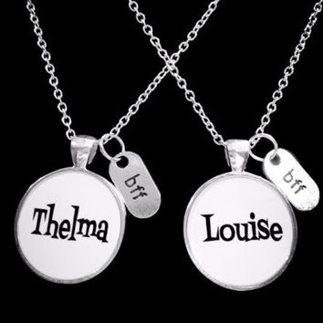 Bff Thelma Louise Best Friend Friends Partners In Crime Gift Necklace Set