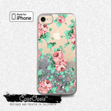 Peonies Flowers Vintage Pattern Roses Pink Liquid Glitter Sparkle Case iPhone 6 and 6s iPhone 6 Plus and 6s Plus iPhone 7 and iPhone 7 Plus