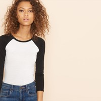 Bodycon Long Sleeve Baseball Tee