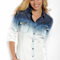 Rock & Roll Cowgirl Womens Long Sleeve Denim Dip Dye Snap Western Shirt