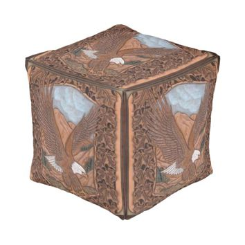 Trendy leather like eagle cubed pouf art design cube pouf