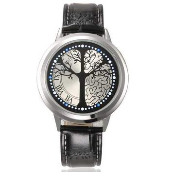 Led Touch Screen Watch Unique Cool Watch With Tree Pattern Simple Black Dial 60 Blue Lights Watch With Soft Black Leather Strap Complete In Specifications Digital Watches