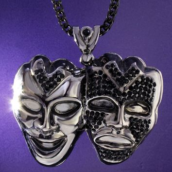 Men's Two Face Mask Black Custom Pendant Free Chain