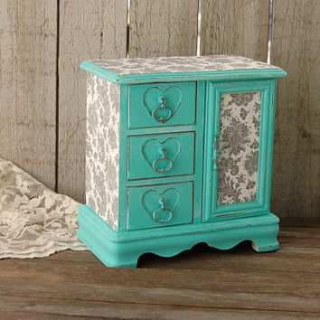 Jewelry Box, Jewelry Armoire, Shabby Chic, Tiffany Blue, Aqua, Grey, Hand Painted, Decoupage, Distressed