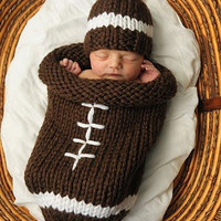 Knit Football Cocoon and Hat - Pattern