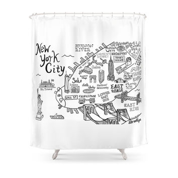 Society6 New York City Map Shower Curtains