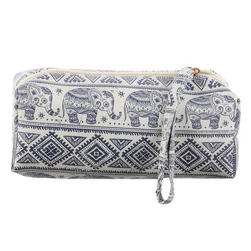 Mulit Color Hindu Elephant Print Vinyl Pouch Wallet Bag Accessory