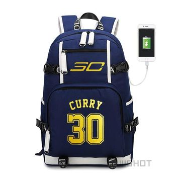 Student Backpack Children WISHOT Curry backpack teenagers Men women's Student School Bags travel Shoulder Laptop Bags multifunction USB charging AT_49_3