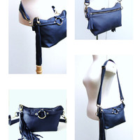 Royal Blue Leather Fanny Pack with Tassels,  Hand Free Waist Pouch - MADE TO ORDER