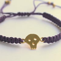 Skull Bracelet Gold Plated  Purple Macrame Knot by meltemsem