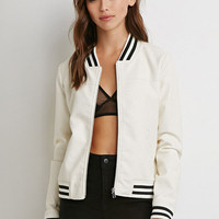 Faux Leather Collar Striped Jacket