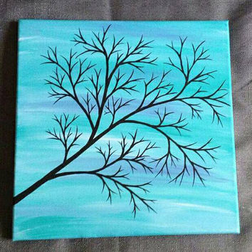 Teal and purple skies- Painting - 12x12  traditional  canvas - ORIGINAL PAINTING - one of a kind - tree silhouette