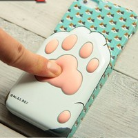 CrazyPomelo Cute Kitten's Soft Paw 3D Phone Case For iPhone 4/4s (Blue)
