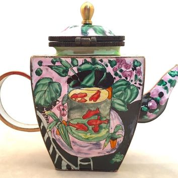 Matisse Goldfish in Vase on Table Miniature Porcelain Teapot 3.5H