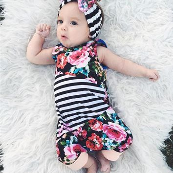 6-24M Girls Floral Striped Sleeveless Romper + Headband