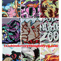 Graffiti street art abstract paintings collage sheet aceo 2.5 x 3.5 inch images clip art digital downloadable graphics images atc cards tags