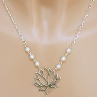 Silver Lotus Flower Necklace with White Pearls, 18 Inch, Handmade | DoubleSJewelry - Jewelry on ArtFire