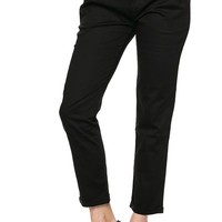 Career Mid Rise Slim Chino Trouser Pants with Faux Leather Belt