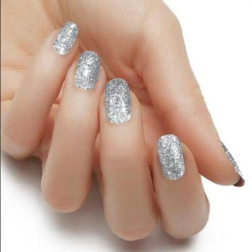 """Silver"" Solid Glitter Nail Polish Strips"