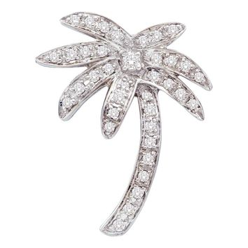 14kt White Gold Womens Round Diamond Palm Tree Nautical Beach Pendant 1/4 Cttw