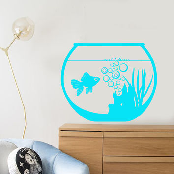 Vinyl Wall Decal Aquarium Goldfish Pet Fish Animal Children's Room Stickers Unique Gift (1479ig)