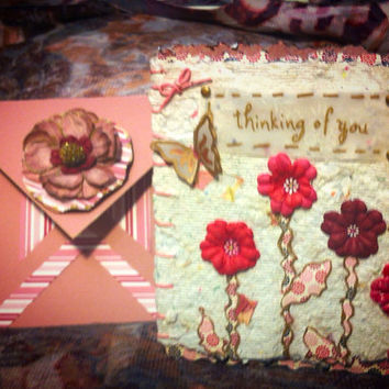 Handmade plantable 3D card. Matching box envelope. Blooming flowers will grow if planted. Then come the fluttering butterflies