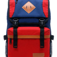 Red PU-Trim Color-Block Backpack
