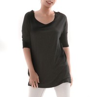 Bamboo Comfort 3/4 Sleeve Loose Fit Tunic Top