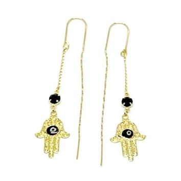 Hamsa Hand Black Evil Eye Threaders Earrings 18K of Gold-Filled