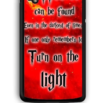 Google Nexus 5 Case - Hard (PC) Cover with Harry Potter Quotes Happiness Can be Found Even in The Darkest of Times If One Remembers Plastic Case Design
