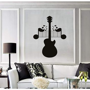 Wall Decal Sheet Music Guitar Musical Instrument Vinyl Stickers Unique Gift (ig2824)