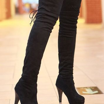 New Women Black Round Toe Stiletto Over-The-Knee Fashion Boots