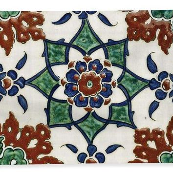 An Ottoman Iznik Style Floral Design Pottery Polychrome, By Adam Asar, No 13l - Bath Towel