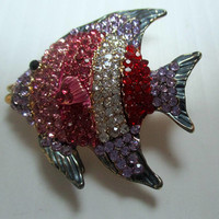 Vintage Brooch Pin-Fish Pisces-Red Blue Crystals- new old stock- vintage jewelry-unique gift woman