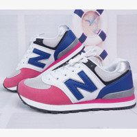 New balance abric is breathable n leisure sports shoes women's shoes Couples forrest gump students running Pink-blue